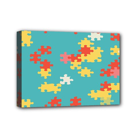 Puzzle Pieces Mini Canvas 7  X 5  (framed) by LalyLauraFLM