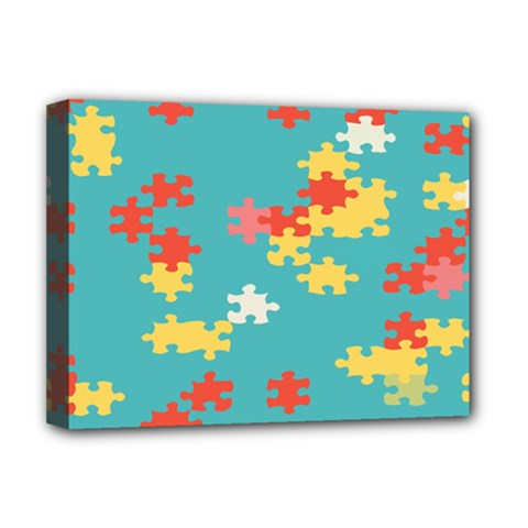 Puzzle Pieces Deluxe Canvas 16  X 12  (framed)  by LalyLauraFLM