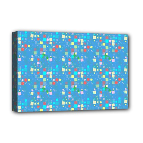 Colorful Squares Pattern Deluxe Canvas 18  X 12  (stretched) by LalyLauraFLM