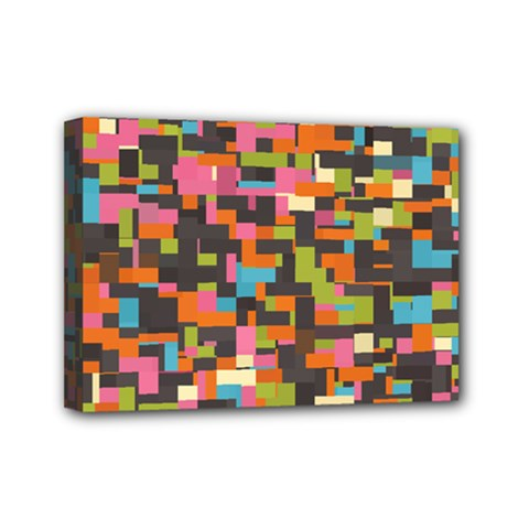 Colorful Pixels Mini Canvas 7  X 5  (stretched)