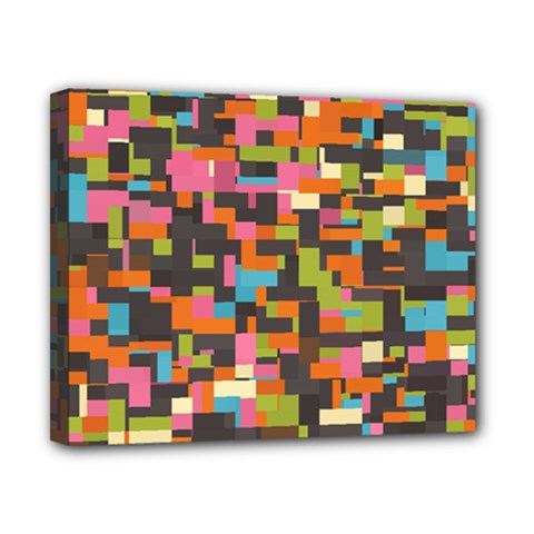 Colorful Pixels Canvas 10  X 8  (stretched)