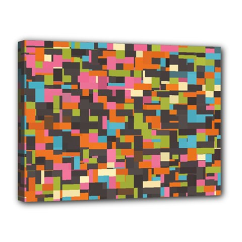 Colorful Pixels Canvas 16  X 12  (stretched)