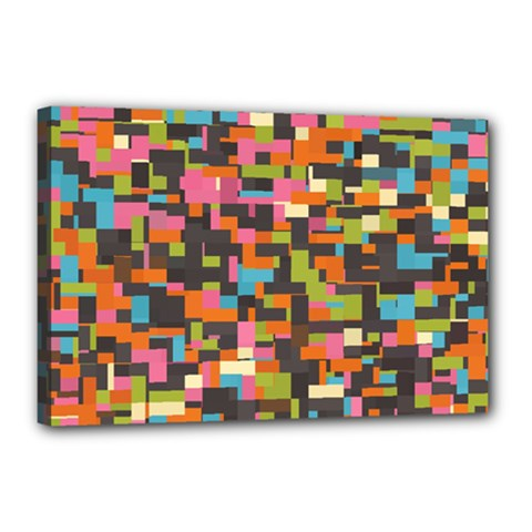 Colorful Pixels Canvas 18  X 12  (stretched)