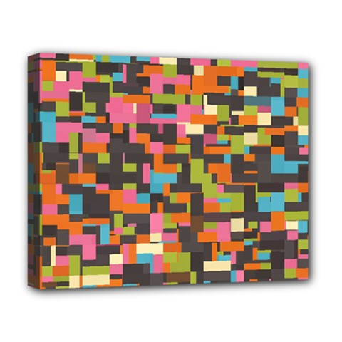 Colorful Pixels Deluxe Canvas 20  X 16  (stretched)
