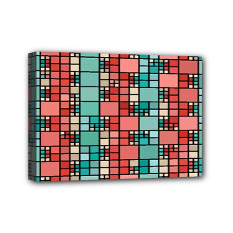Red And Green Squares Mini Canvas 7  X 5  (stretched)