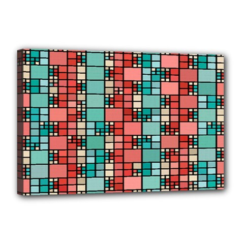 Red And Green Squares Canvas 18  X 12  (stretched) by LalyLauraFLM