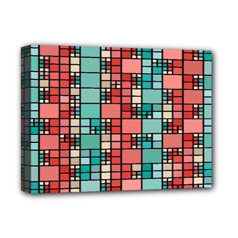 Red And Green Squares Deluxe Canvas 16  X 12  (stretched)