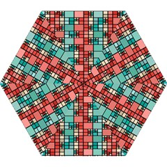 Red And Green Squares Mini Folding Umbrella