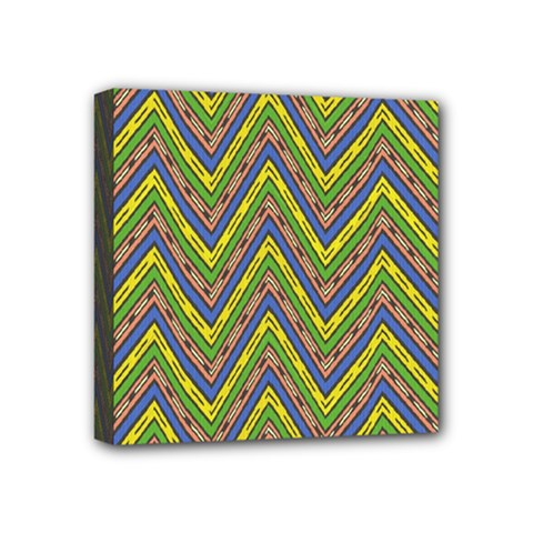 Zig Zag Pattern Mini Canvas 4  X 4  (stretched)