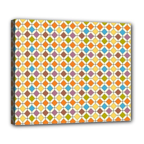 Colorful Rhombus Pattern Deluxe Canvas 24  X 20  (stretched) by LalyLauraFLM