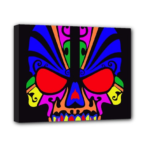 Skull In Colour Canvas 10  X 8  (framed) by icarusismartdesigns