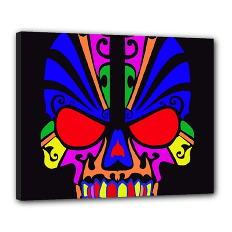 Skull In Colour Canvas 20  X 16  (framed) by icarusismartdesigns