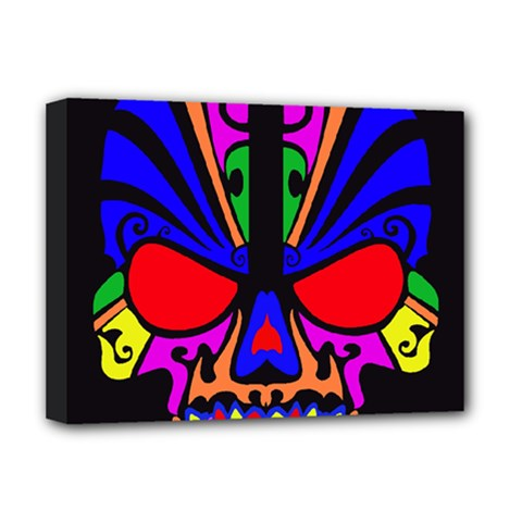 Skull In Colour Deluxe Canvas 16  X 12  (framed)  by icarusismartdesigns