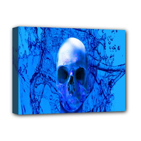 Alien Blue Deluxe Canvas 16  X 12  (framed)