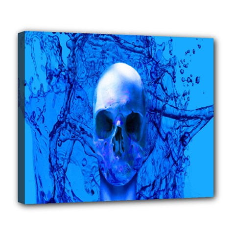 Alien Blue Deluxe Canvas 24  X 20  (framed)