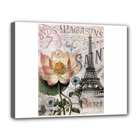 Vintage Paris Eiffel Tower Floral Canvas 14  X 11  (framed)