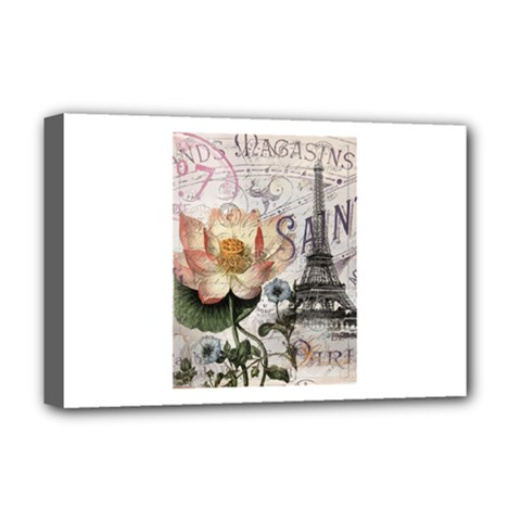 Vintage Paris Eiffel Tower Floral Deluxe Canvas 18  X 12  (framed) by chicelegantboutique