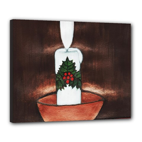 Candle And Mistletoe Canvas 20  X 16  (framed) by JUNEIPER07