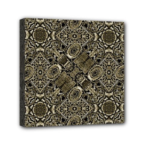 Steam Punk Pattern Print Mini Canvas 6  X 6  (framed) by dflcprints