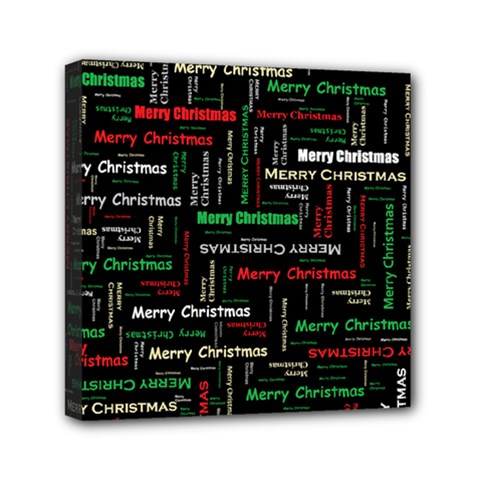 Merry Christmas Typography Art Mini Canvas 6  X 6  (framed) by StuffOrSomething
