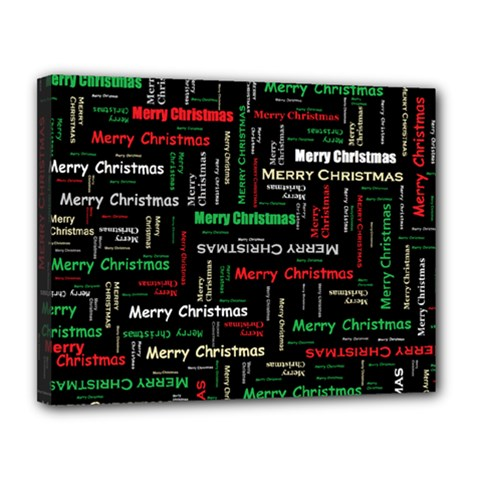 Merry Christmas Typography Art Canvas 14  X 11  (framed) by StuffOrSomething