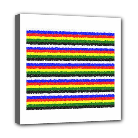 Horizontal Basic Colors Curly Stripes Mini Canvas 8  X 8  (framed) by BestCustomGiftsForYou