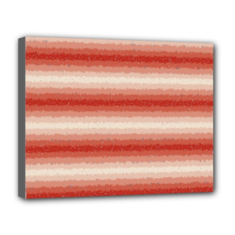Horizontal Red Curly Stripes Canvas 14  X 11  (framed) by BestCustomGiftsForYou