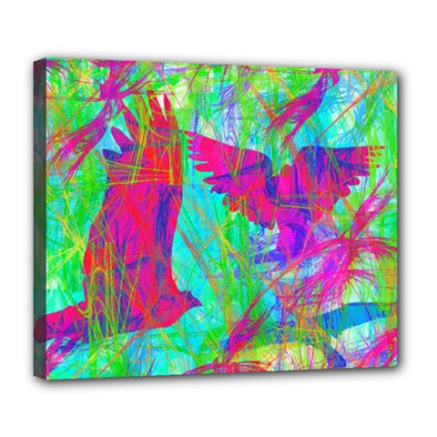 Birds In Flight Deluxe Canvas 24  X 20  (framed) by icarusismartdesigns
