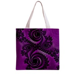 Purple Dragon Fractal  All Over Print Grocery Tote Bag by OCDesignss