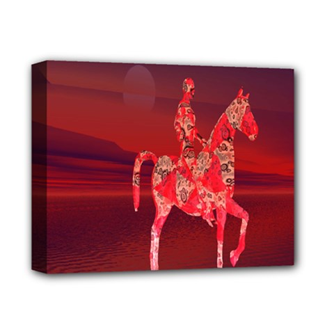 Riding At Dusk Deluxe Canvas 14  X 11  (framed) by icarusismartdesigns