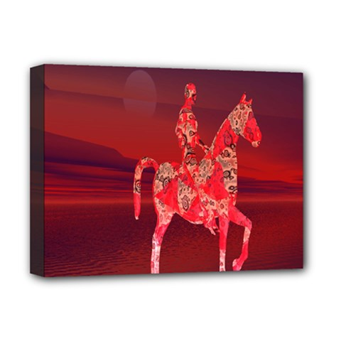 Riding At Dusk Deluxe Canvas 16  X 12  (framed)  by icarusismartdesigns