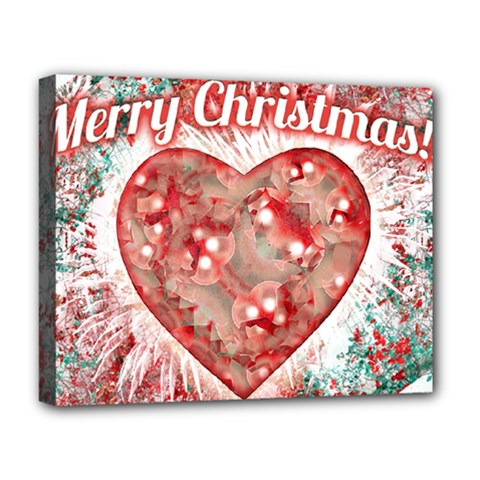 Vintage Colorful Merry Christmas Design Deluxe Canvas 20  X 16  (framed) by dflcprints