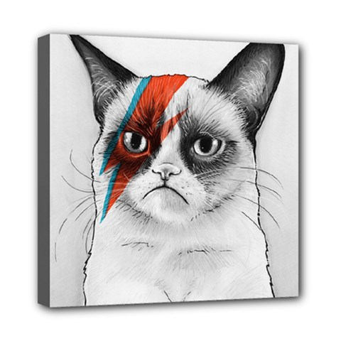 Grumpy Bowie Mini Canvas 8  X 8  (framed) by Olechka