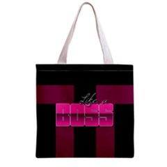 Like A Boss Shiny Pink All Over Print Grocery Tote Bag by OCDesignss
