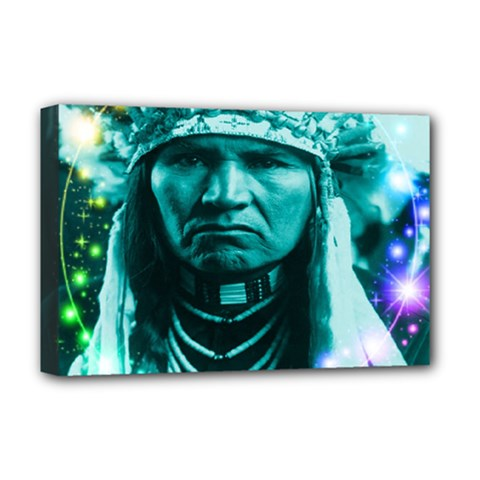 Magical Indian Chief Deluxe Canvas 18  X 12  (framed) by icarusismartdesigns