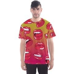 Hot Lips All Over Print Sport T Shirt (men) by UniqueandCustomGifts
