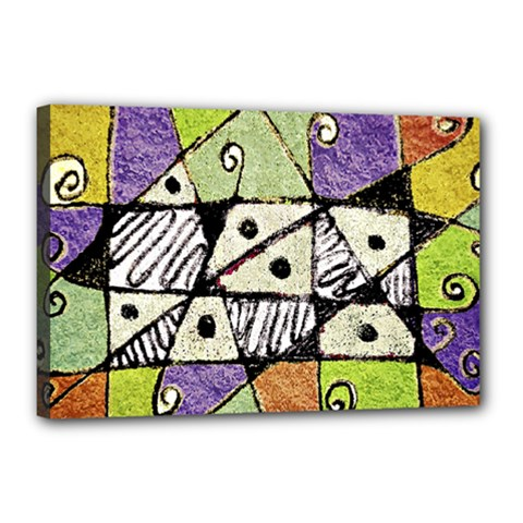 Multicolored Tribal Print Abstract Art Canvas 18  X 12  (framed) by dflcprints