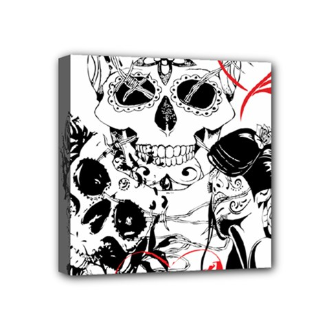 Skull Love Affair Mini Canvas 4  X 4  (framed) by vividaudacity