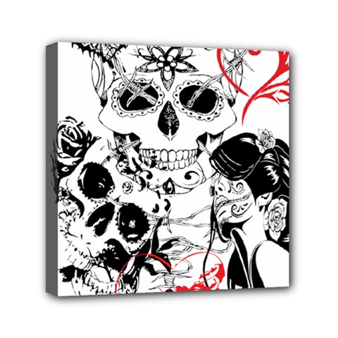 Skull Love Affair Mini Canvas 6  X 6  (framed) by vividaudacity