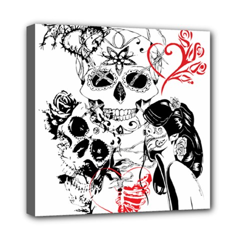 Skull Love Affair Mini Canvas 8  X 8  (framed) by vividaudacity