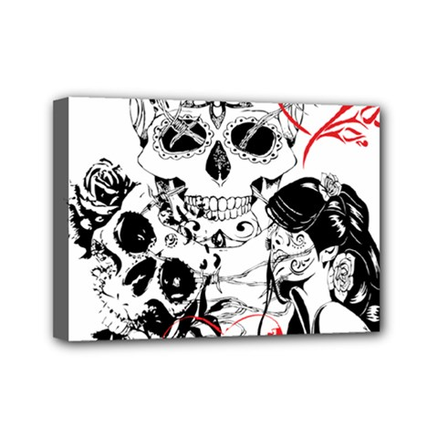 Skull Love Affair Mini Canvas 7  X 5  (framed) by vividaudacity