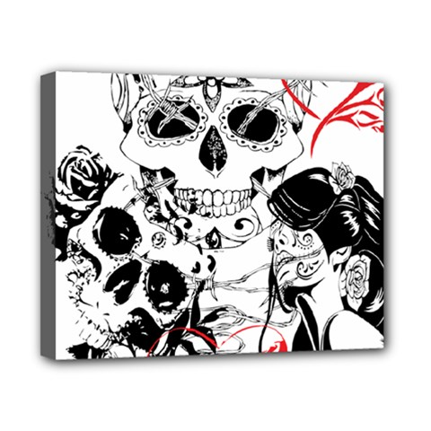 Skull Love Affair Canvas 10  X 8  (framed) by vividaudacity