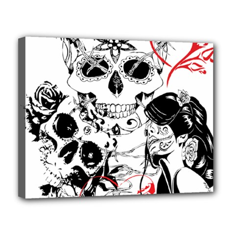 Skull Love Affair Canvas 14  X 11  (framed) by vividaudacity