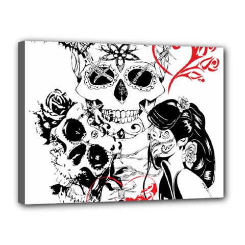 Skull Love Affair Canvas 16  X 12  (framed) by vividaudacity