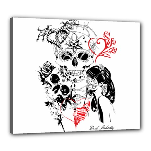 Skull Love Affair Canvas 24  X 20  (framed) by vividaudacity