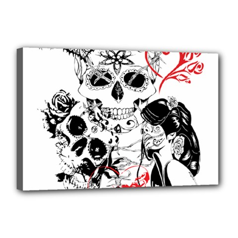 Skull Love Affair Canvas 18  X 12  (framed) by vividaudacity