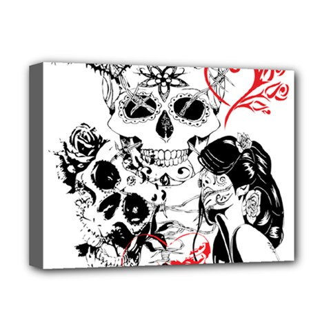 Skull Love Affair Deluxe Canvas 16  X 12  (framed)  by vividaudacity