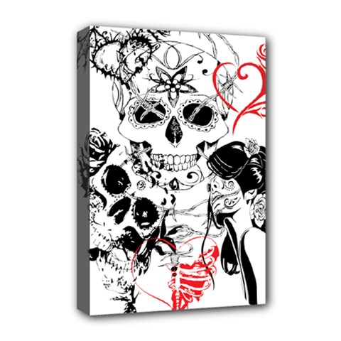 Skull Love Affair Deluxe Canvas 18  X 12  (framed) by vividaudacity
