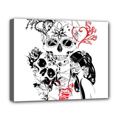 Skull Love Affair Deluxe Canvas 20  X 16  (framed) by vividaudacity