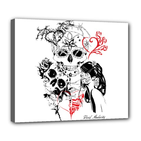 Skull Love Affair Deluxe Canvas 24  X 20  (framed) by vividaudacity